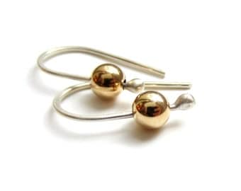 simple silver and 14k gold fill drop earrings READY TO SHIP