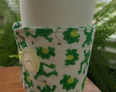 Reusable Coffee or Tea Wrap Around Sleeve in Frog themed fabric