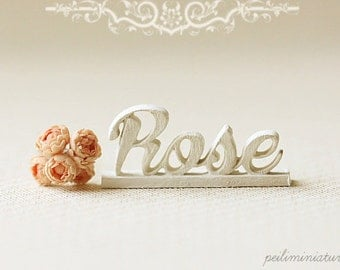 Dollhouse Miniature - Wood Letters - Free Standing Wooden Letters - ROSE