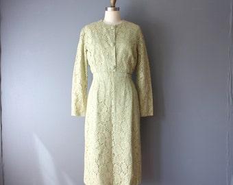 vintage 60s lace dress jacket set / mint green with pale gold lace / wiggle dress / cropped jacket