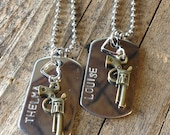 Thelma and Louise Dog Tag Necklace Set