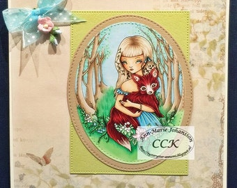 Sweet Little Red - Instant Download Digital Stamp / Woods Flower Forest Animal Fox Fantasy Fairy Girl by Ching-Chou Kuik
