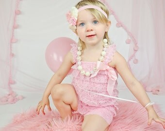 Baby Pink Lace Romper Headband Necklace SET, Pink Cream Birthday Romper And Baby Headband, Baby Outfit, Baby Cake Smash