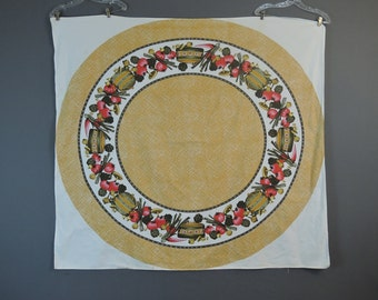 Vintage Tablecloth with Vegetables & Cooking Pots, 54 x 58 inches, Vintage 1960s Rustic Colors