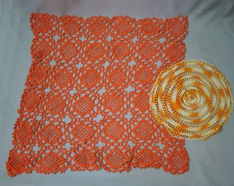 2 Orange Crochet Vintage Doilies, Round & Large 26 inch Square, Vintage Home 1960s, Handmade