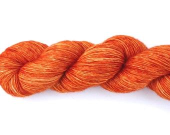 Tangerine Speedo--hand dyed sock weight yarn, merino and silk single ply, (438yds/100gm)