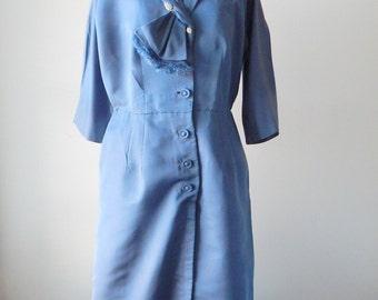 Sale plus size Blue by you dress   vintage 1940s dress   rayon 40s dress