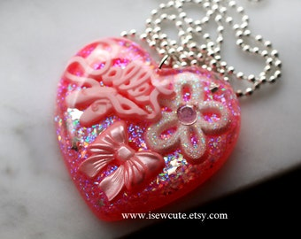 For the Dancer at Heart... A Beautiful Pink Glitter Ballet Themed Resin Heart Pendant, Fancy Deluxe Resin Heart Pendant Necklace by isewcute