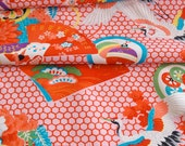 Vintage Japanese Kimono Fabric - Flying Crane and Hexagons