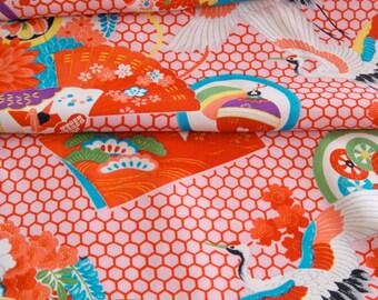 Vintage Japanese Kimono Fabric - Flying Crane and Hexagons