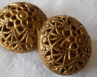 Set of 2 VINTAGE Big Pierced Metal Dome Twinkle BUTTONS