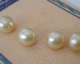 Set of 4 VINTAGE Faux Pearl Cream White Plastic BUTTONS
