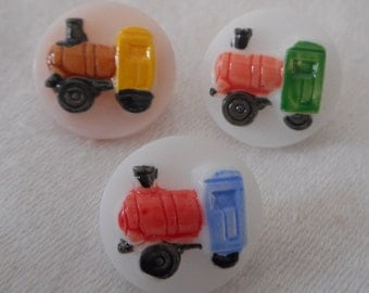 Set of 3 VINTAGE Small Painted Locomotive Train Glass BUTTONS