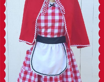 Little Red Riding hood costume, red gingham apron, retro apron, dress up costume aprons, womens costume, Halloween costume, red cape