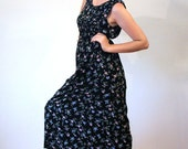 Olivia's Meadow, 90s Grunge Dress M, Black Floral Rayon Midi Dress, Sleeveless Pintucks Floral Dress, Boho Dress, Medium