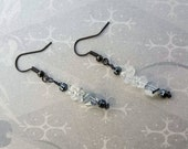 READY TO SHIP - Gunmetal Silver Clear Stone Crystal Beaded Dangle Earrings - Bella Mia Beads