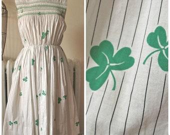 Shamrock Swing   Vintage 1950's Pinstripe Clover Print Dress Smocking Detail and Gathered Waist