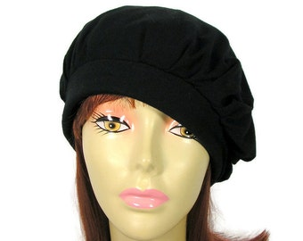 Cotton Beret Black 100% Cotton Slouchy Beret Trendy Slouchy Hat for Hair Loss Chemo Turban Custom Size Slouchy Berets Lightweight Berets