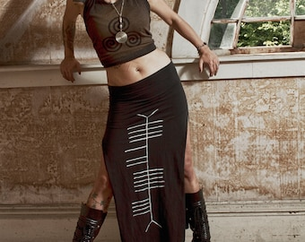 Sidhe Ogham Celtic Witch Double Slit Long Maxi Skirt