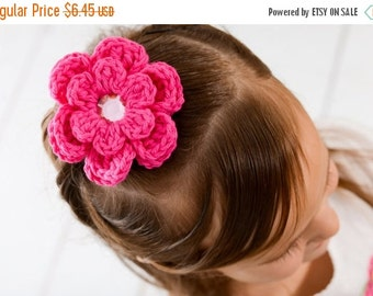 20% OFF Hot Pink Hair Clip Crochet Flower Hair Clip Flower Barrette Hot Pink Flower Hot Pink Barrette Electric Pink Neon Pink Spring Hair Cl