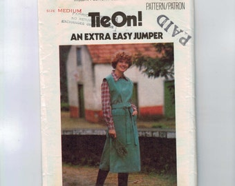 1970s Vintage Sewing Pattern Butterick 4972 Extra Easy Tie On Jumper Medium Bust 34 36 Size 12 14 1970s 70s