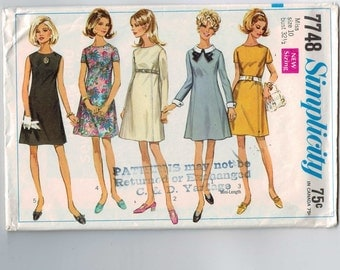 1960s Vintage Sewing Pattern Simplicity 7748 Misses Princess Seam Mini Dress Detachale Collar and Cuffs Size 10 Bust 32 1/2 1968 60s