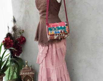 BOHEMIAN GYPSY BAG - Hand Purse Shoulder Clutch Hippie Boho Shabby Chic Vintage Recycle Upcycle India Patchwork - Red Pink Purple Brown - 17
