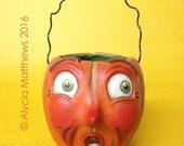 Scared Sam – EHAG - Hand sculpted, OOAK, original paper mâché, Halloween, Jack O'lantern Candy Cup by artist Alycia Matthews
