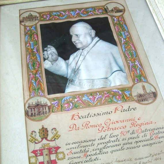 1963 Pope John XXIII 23rd Papal Blessing Italian 50th Wedding