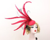 Red Hat - Peacock Feather Fascinator - Cocktail Hat - Showgirl Headpiece - High Fashion - Ascot Races - Kentucky Derby - Burlesque Costume