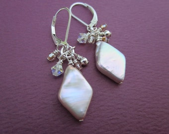 satin pink diamond-shaped freshwater pearl and crystal fringe earrings