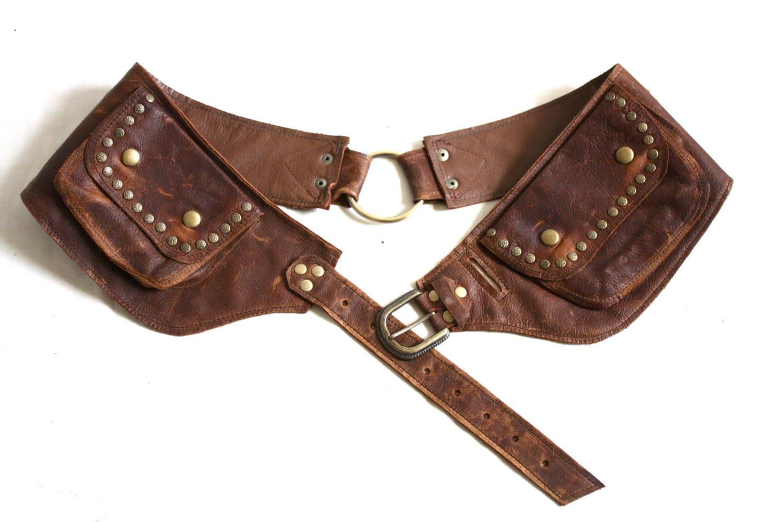 leather pocket belt medium leather utility belt leather