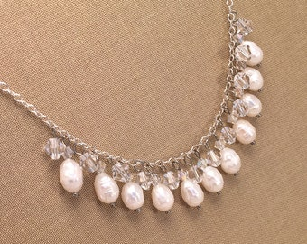 Pearl and Swarovski crystal bridal necklace, sterling silver