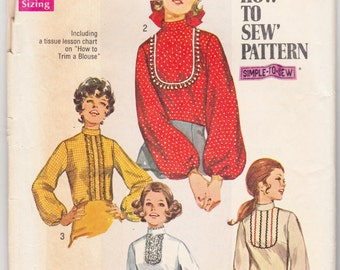 """Vintage Sewing Pattern 1970's Misses Blouses Simplicity 8416 36"""" Bust- Free Pattern Grading E-book Included"""
