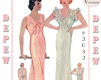 Vintage Sewing Pattern Reproduction 1930's Ladies' NightGown #2032 - Full Sized PAPER VERSION