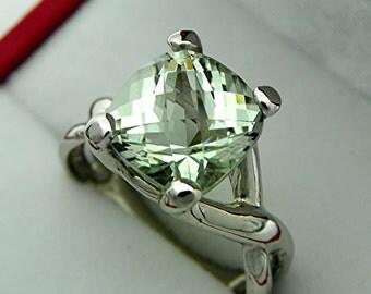 AAAA Green Amethyst (Prasiolite)   10mm  3.90 Carats   Checkerboard Cushion cut in 14K White gold - ELKE- ring 1240