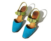 Size 8.5 Tear & Green Leather Strappy  Sandal Shoes