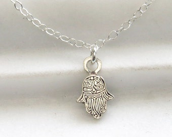 Tiny Hamsa Necklace • Good Luck Charm • Amulet • Hand of Hamsa Charm • Zen Gift • Protection Necklace • Tiny Silver Hand