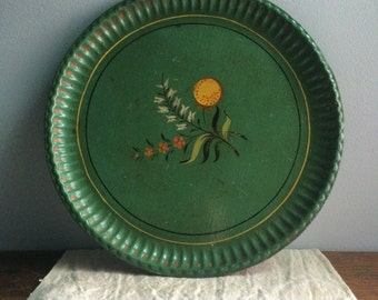 vintage hand painted round metal toleware tea tray