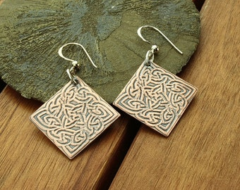 Celtic earrings | celtic knot earrings | celtic copper earrings | copper dangle earrings | celtic jewelry | copper jewelry | made to order