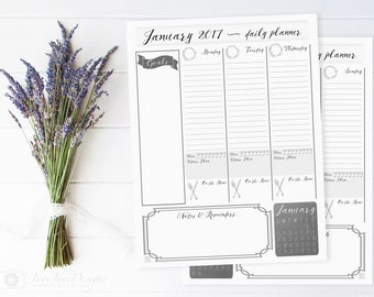 2017 Daily Planner and Calendar | Printable Planner | Weekly Planner | 2017 Planner | Black & White Vintage Organizer | Daily To Do List
