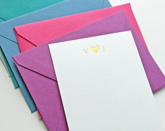 Custom Gold or Silver Foil Stamped Note Cards - Wedding, Personal Newlywed Stationery Gift - Initials with Heart