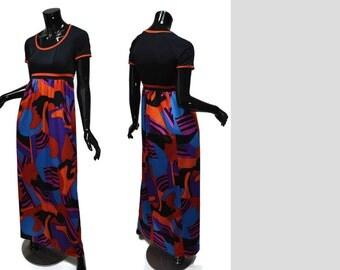 1970s Olga Maxi Sz S-M Empire Waist Gown Abstract Print Lounge Hostess Black Blue Purple Red