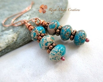 Turquoise Earrings. Blue Green Tan Gemstones. Stacked Dangle Earrings. Multi Color Serpentine Jasper Semi Precious Stones. Copper Earwires