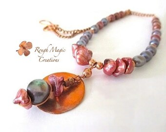 Colorful Pearls Pendant Necklace. Rustic Antique Copper. Red Blue Pearls. Genuine Pearls. Boho Statement. Hammered Copper. Bohemian Jewelry