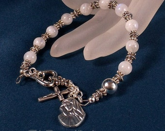 Natural Moonstone Rosary Bracelet Chaplet Mother of Sorrows Mater Dolorosa Miraculous Medal St Therese Holy Family Single Decade Rosary