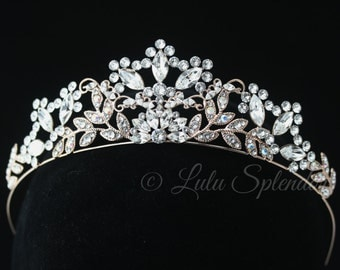 Rose Gold Tiara Bridal Crown Crystal Wedding Tiara Leaf Headpiece Swarovski Bridal Tiara