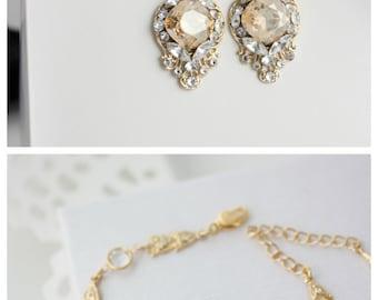 Golden Shadow Bridal Bracelet and Earring Set Gold Wedding Jewelry Art Deco Wedding Bracelet  Bridal jewelry Set ESTELLA