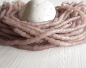 small rustic old  rose pink  seed glass Beads , small tube barrel spacer , New  Indo-pacific  - 3 to 6  mm  / 22 inch loose beads   6a14-16