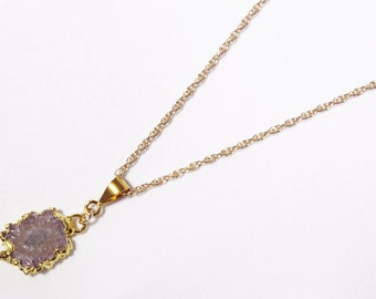 Small Amethyst Stalactite Pendant Rare Amethyst Pendant February Birthstone Raw Stone Pendant Gold Edge One of a Kind ST-P-110-011g
